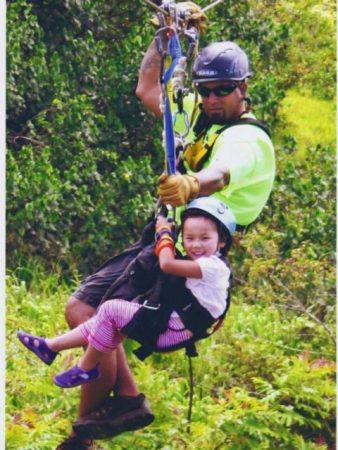 Keiki having fun on Zipline