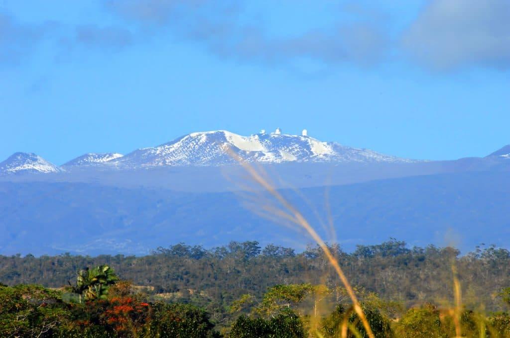 Snow-capped Mauna Kea.