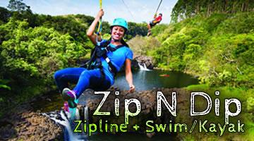 Zip N Dip Zipline + Swim/Kayak