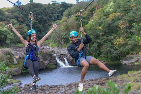 zipline couple waterfall pool