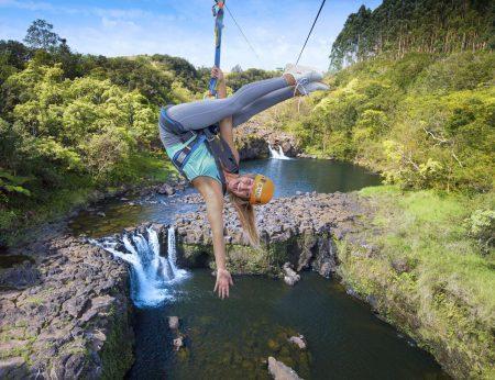 Woman on Umauma zipline